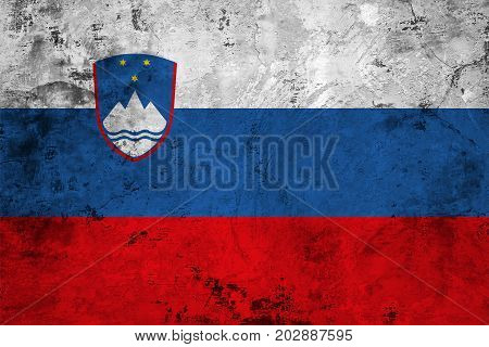 Flag of the Slovenian against the background of the stone texture