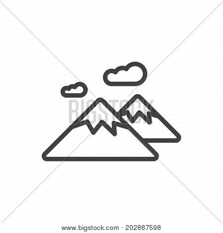 Vector Mountain Element In Trendy Style.  Isolated Pinnacle Outline Symbol On Clean Background.