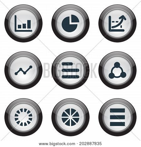 Elements Circle Diagram, Menu, Progress And Other Synonyms Progress, List And Growth.  Vector Illustration Set Of Simple Chart Icons.