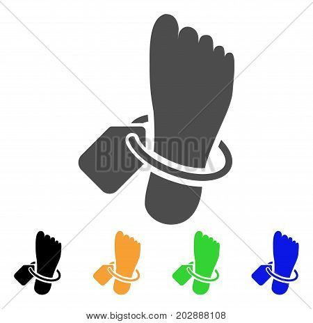 Morgue Tagged Foot vector icon. Style is a flat graphic symbol in grey, black, yellow, blue, green color versions. Designed for web and mobile apps.