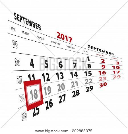 18 September Highlighted On Calendar 2017. Week Starts From Monday.
