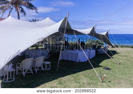 Tent Bedouin Chairs Wedding Party Venue Beach Ocean Horizon Landscape.