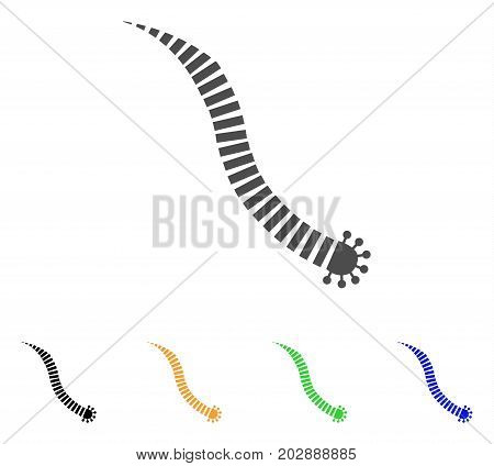 Parasite Worm vector pictograph. Style is a flat graphic symbol in grey, black, yellow, blue, green color variants. Designed for web and mobile apps.
