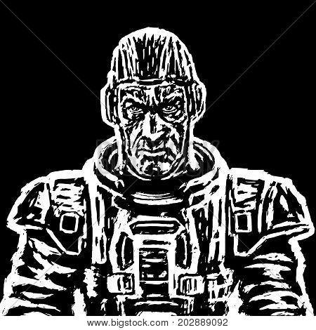 Old cosmonaut in a space suit without a helmet in black and white colors. Vector illustration. Heroic face. Science fiction. Serious character.