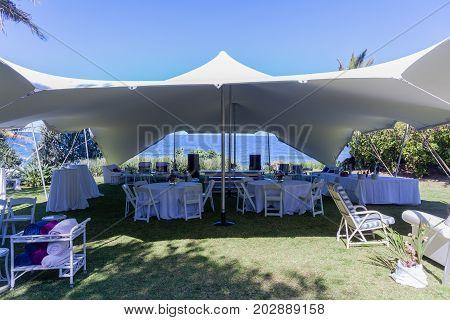 Tent Bedouin Chairs Wedding Venue Beach Ocean Horizon Landscape
