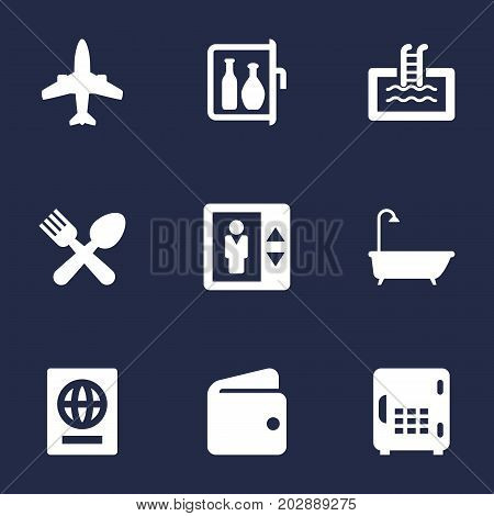 Collection Of Bathtub, Citizenship, Lift And Other Elements.  Set Of 9 Motel Icons Set.
