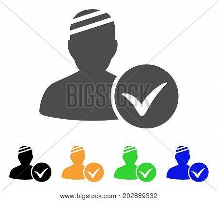 Patient Ok vector pictograph. Style is a flat graphic symbol in grey, black, yellow, blue, green color variants. Designed for web and mobile apps.