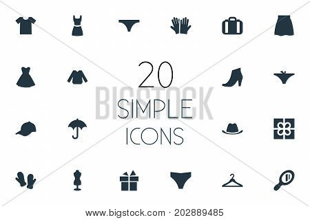 Elements Parasol, Blouse, Gloves And Other Synonyms Accessory, Sale And Hat.  Vector Illustration Set Of Simple Wardrobe Icons.
