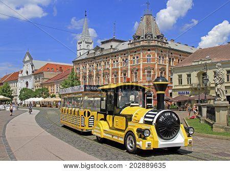 Kosice Slovakia - June 28 2017: yellow touristic train in the center of Kosice Slovakia
