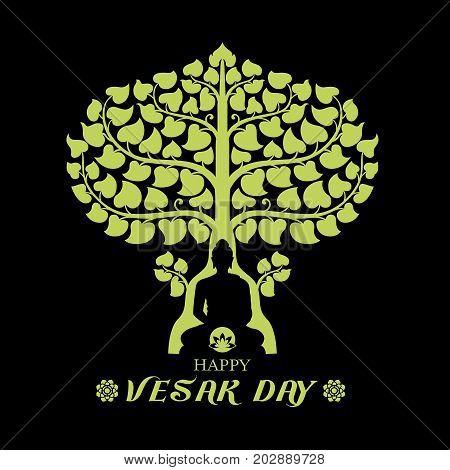 Happy Vesak day  with Buddha under Bodhi Tree and lotus sign art vector design