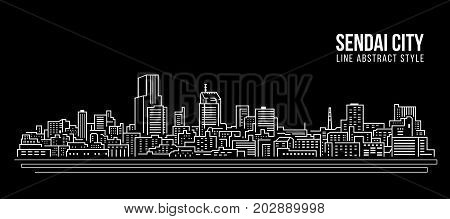 Cityscape Building Line art Vector Illustration design - Sendai city