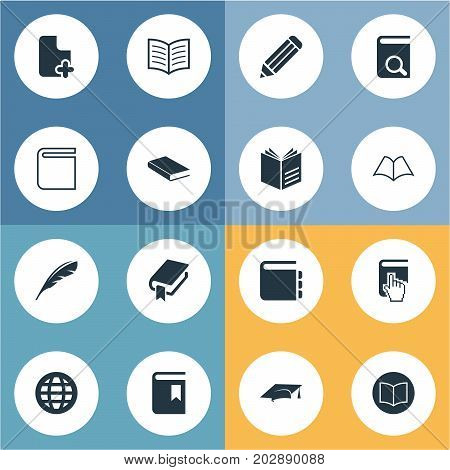 Elements Academic Cap, Directory, Online Education And Other Synonyms Reading, Knowledge And Book.  Vector Illustration Set Of Simple Reading Icons.