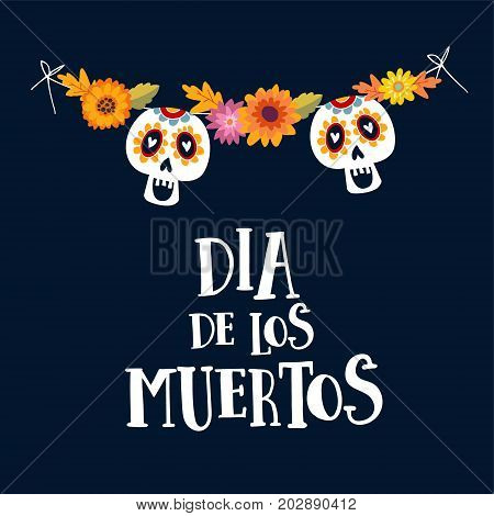 Dia de los Muertos or Halloween greeting card, invitation. Mexican Day of the Dead. String decoration with mums flowers and ornamental sugar skulls, hand drawn vector illustration, background.
