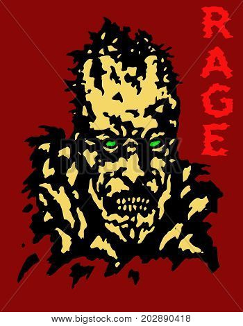 Rage zombie head cover. Vector illustration. Genre of horror. Red background.
