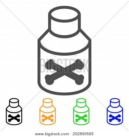 Poison Phial vector icon. Style is a flat graphic symbol in gray, black, yellow, blue, green color versions. Designed for web and mobile apps.