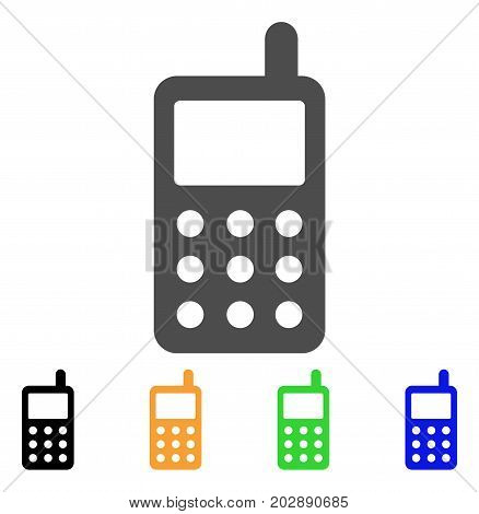 Portable Radio Transmitter vector icon. Style is a flat graphic symbol in grey, black, yellow, blue, green color versions. Designed for web and mobile apps.
