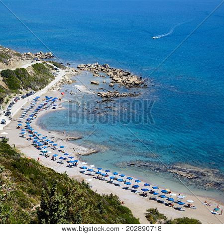 Faliraki nudist beach at Rhodes island, Greece