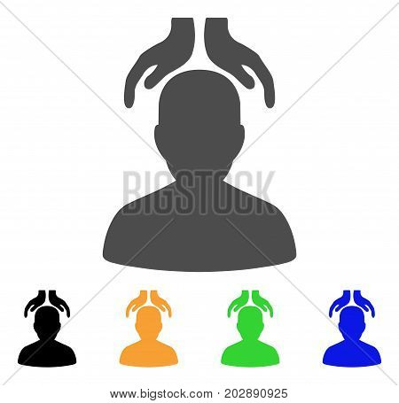 Psychiatry Hands vector icon. Style is a flat graphic symbol in grey, black, yellow, blue, green color variants. Designed for web and mobile apps.