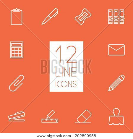 Collection Of Puncher, Binder Clip, Sharpener And Other Elements.  Set Of 12 Tools Outline Icons Set.