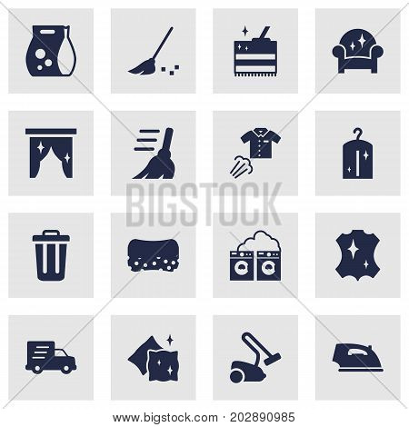 Collection Of Cushion, Cleaning, Besom And Other Elements.  Set Of 16 Cleanup Icons Set.