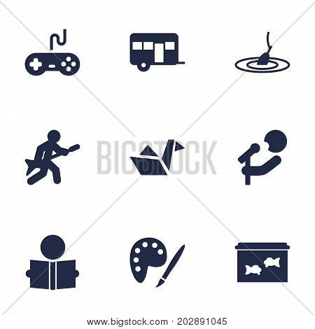 Collection Of Joystick, Singer, Rod And Other Elements.  Set Of 9 Lifestyle Icons Set.