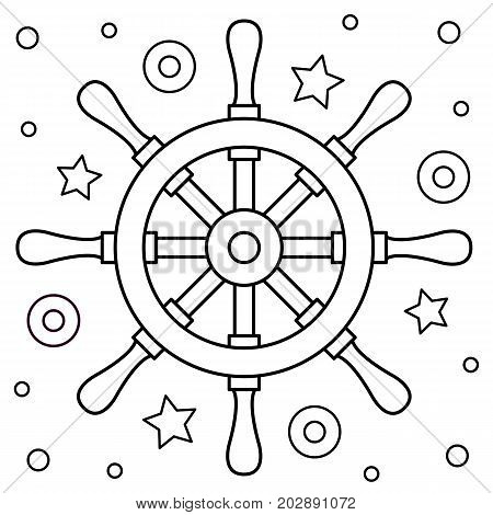 Black and white vector illustration. Coloring page. Helm