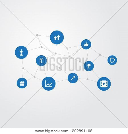 Elements Waiting, Award, Statistic And Other Synonyms Thumb, Arrow And Award.  Vector Illustration Set Of Simple Achievement Icons.
