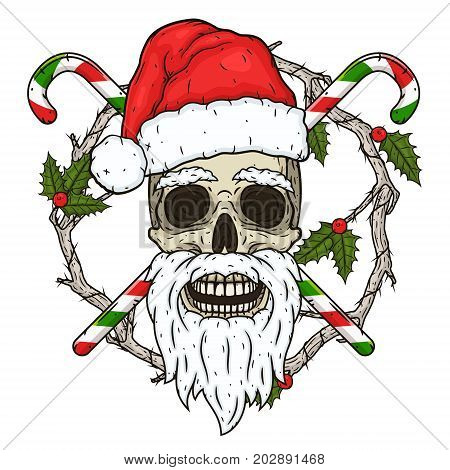 The skull of Santa Claus in the background of the branches of the omella and crossed candies. Santa claus skull