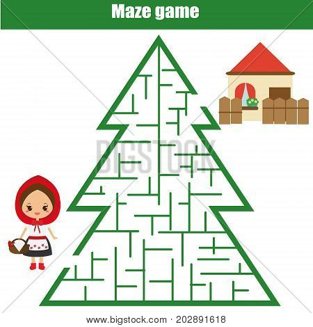 Maze children game: help the Red Riding Hood go through the forest labyrinth and find way to house