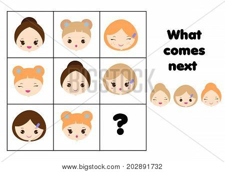 What comes next educational children game. Kids activity sheet, training logic, continue the row task. Geometric shapes