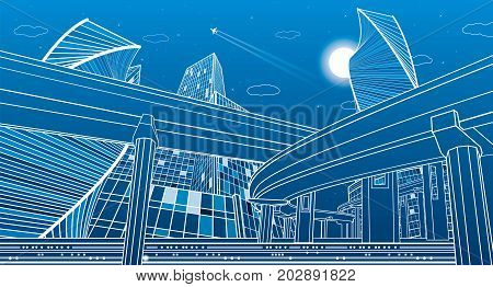 Transportation overpass bridge, urban infrastructure. Modern city on background, skyscrapers and towers. Vector design art