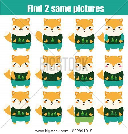 Find the same pictures children educational game. Find equal pairs of hippo kids activity. Animals theme