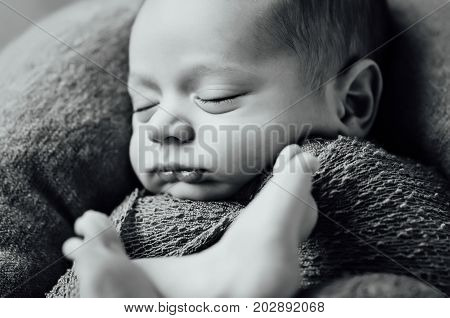 beautiful newborn sleeping baby boy with knitted hat on a wooden background. Black and white photo