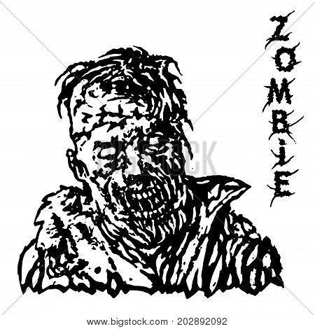Danger head of zombie. Vector illustration. Black and white colors. Genre of horror.