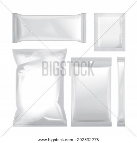 Set of white blank foil bag packaging for food, snack, coffee, cocoa, sweets, crackers, chips, nuts, sugar. Vector plastic pack mock up for your design