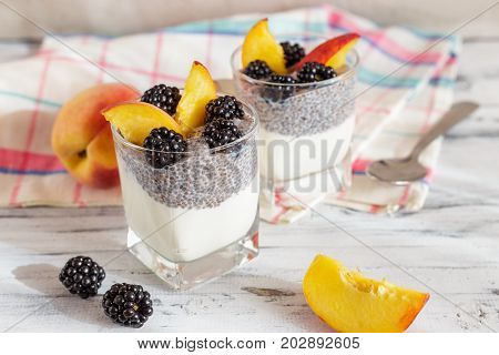 Chia Seed Pudding With Yogurt And Fruits