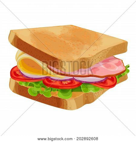 Toasted sandwich with green lettuce, sliced tomatoes and onion, cheese and ham vector illustration isolated on white background