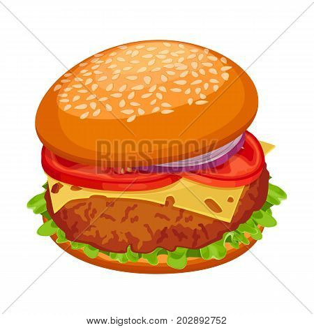 Hamburger with cutlet, piece of cheese, green lettuce, tomatoes with onion and bun topped by sesame vector illustration isolated on white background