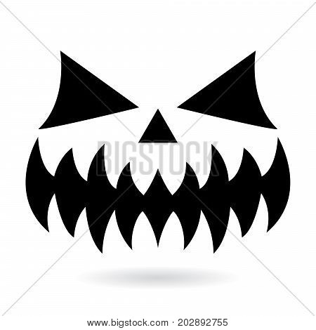 Scary Halloween pumpkin face vector design, ghost or monster mouth icon with spooky eyes, nose and big teeth