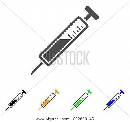 Syringe vector icon. Style is a flat graphic symbol in grey, black, yellow, blue, green color versions. Designed for web and mobile apps.