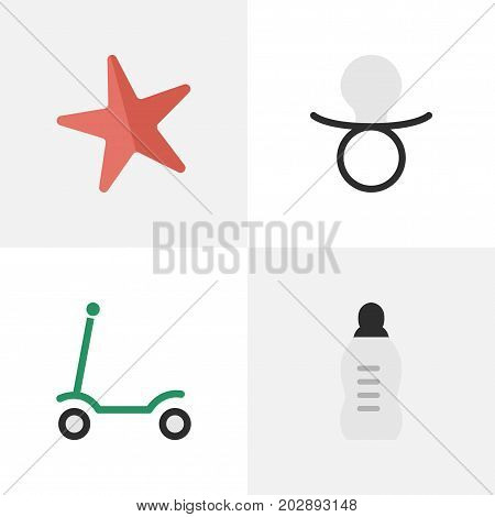 Elements Nipple, Toy, Vial And Other Synonyms Nipple, Moped And Baby.  Vector Illustration Set Of Simple Child Icons.