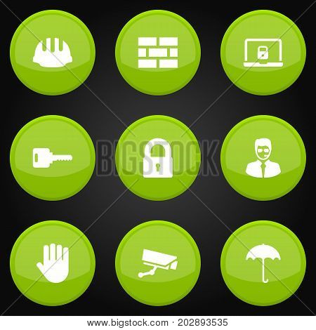 Collection Of Security Man , Hardhat, Hand Elements.  Set Of 9 Security Icons Set.