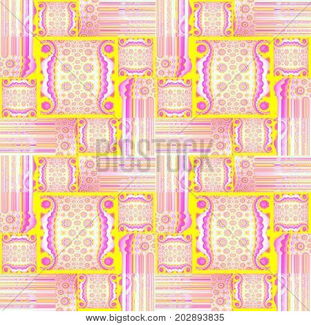 Abstract geometric background. Regular squares and rectangles pattern with circle elements and stripes pink, yellow, violet and magenta shifted.