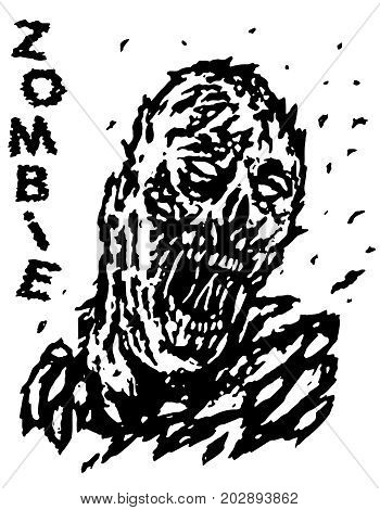 Blown away by the wind dead man zombie. Vector illustration. Black and white colors. Genre of horror.