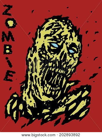 Blown away by the wind zombie monster. Vector illustration. Genre of horror. States of mind. Red background.