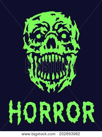 Green scary monster skull. Vector illustration. Genre of horror. Scary vampire face. States of mind.