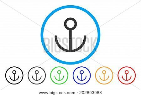 Anchor rounded icon. Vector illustration style is a gray flat iconic anchor symbol inside a circle. Additional color versions are black, grey, green, blue, red, orange.