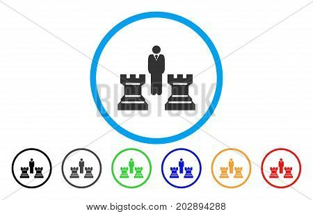 Chess Strategy rounded icon. Vector illustration style is a grey flat iconic chess strategy symbol inside a circle. Additional color variants are black, grey, green, blue, red, orange.