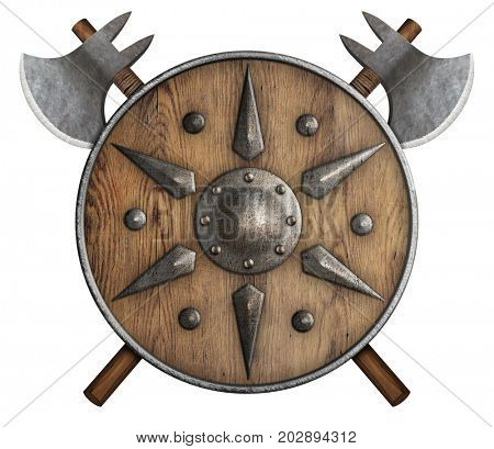 wooden shield and two crossed axes isolated on white 3d illustration