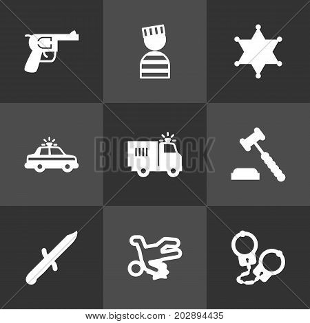 Collection Of Judge Gavel, Revolver, Truck And Other Elements.  Set Of 9 Criminal Icons Set.